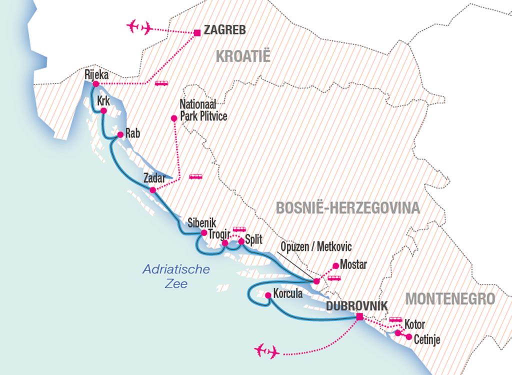 Vaarroute cruise Kroatië