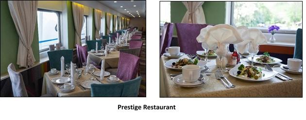 Het gezellige restaurant aan boord van de MS Kandinsky Prestige