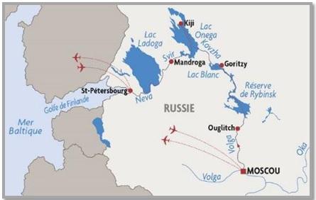 Vaarroute cruise Parels van Rusland